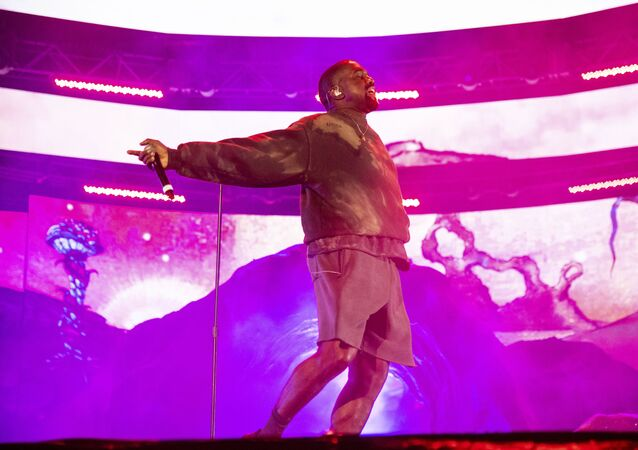 Kanye West performs with Kid Cudi at the Coachella Music & Arts Festival at the Empire Polo Club on Saturday, April 20, 2019