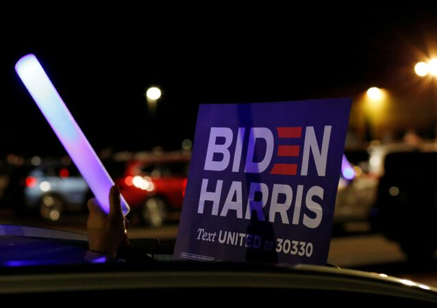 A sign is displayed during a projection of the Democratic National Convention (DNC) at a drive-in watch party in Derry, New Hampshire, U.S., August 20, 2020.