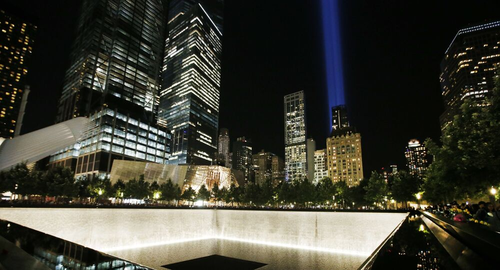 The Tribute in Light is seen in the sky above the National September 11 Memorial at the World Trade Center site on the 16th anniversary of the Sept. 11 terror attacks, Monday, Sept. 11, 2017, in New York. Two giant towers of light have lit up the lower Manhattan skyline as a visual memorial to those who lost their lives on 9/11