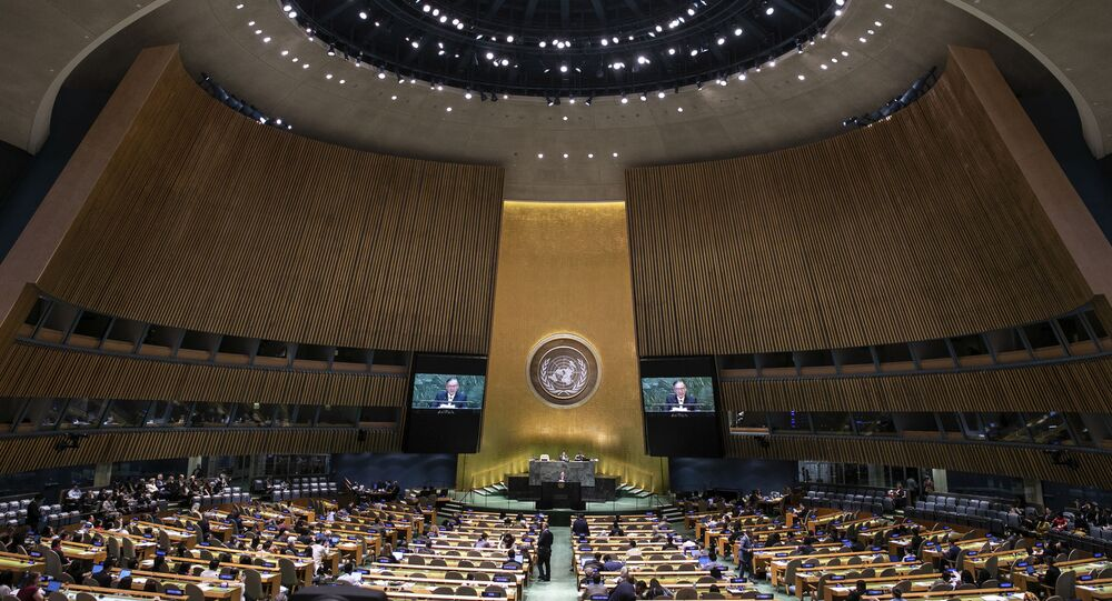 Philippines' Foreign Secretary Teodoro Locsin Jr. addresses the 74th session of the United Nations General Assembly at the U.N. headquarters Saturday, Sept. 28, 2019.