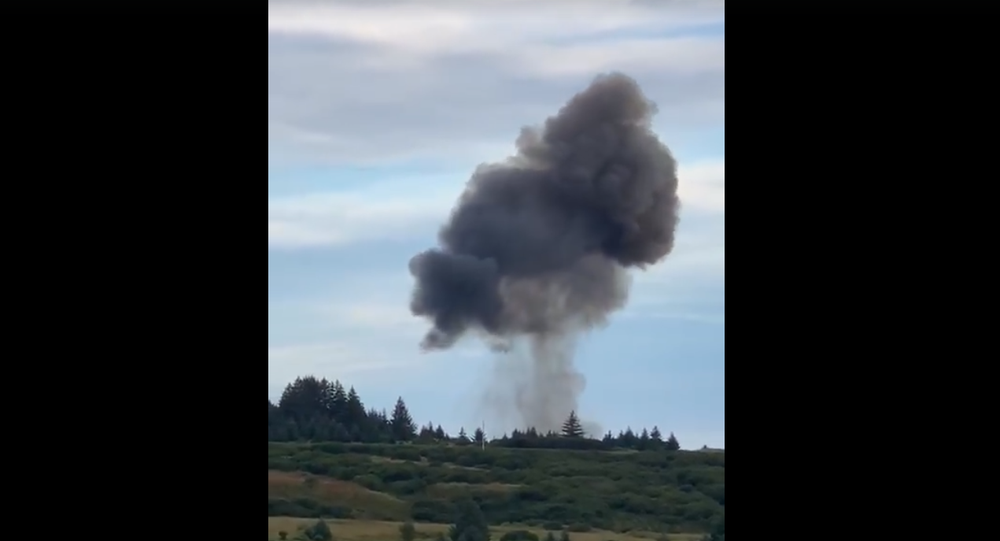Screenshot from a video showing Astra Rocket 3.1 falling down to the ground and causing a massive explosion in Kodiak, Alaska