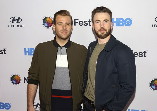 Scott Evans, left, and Chris Evans, right, attend the NewFest LGBTQ film festival opening night gala screening of Sell By at the SVA Theatre on Wednesday, Oct. 23, 2019, in New York