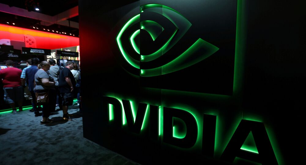FILE PHOTO: The Nvidia booth is shown at the E3 2017 Electronic Entertainment Expo in Los Angeles, California, U.S., June 13, 2017. REUTERS/ Mike Blake/File Photo