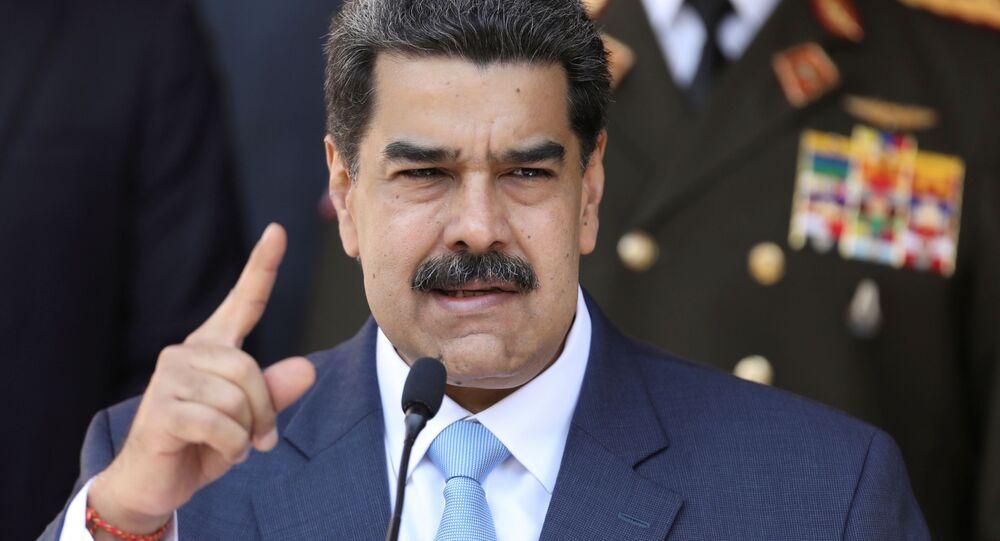 Venezuela's President Nicolas Maduro speaks during a news conference at Miraflores Palace in Caracas, Venezuela, March 12, 2020