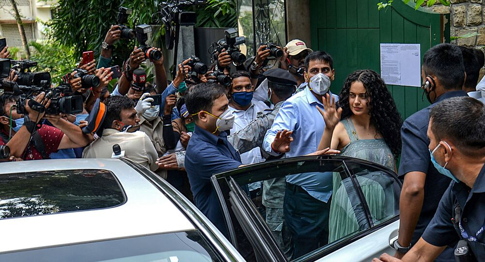 Bollywood actress Kangana Ranaut (3R) arrives to visit her office 'Manikarnika Films' a day after structures within those premises were demolished under a decision of Brihanmumbai Municipal Corporation (BMC), in Mumbai on September 10, 2020