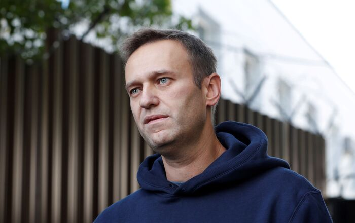Russian opposition leader Alexei Navalny speaks with journalists after he was released from a detention centre in Moscow, Russia August 23, 2019