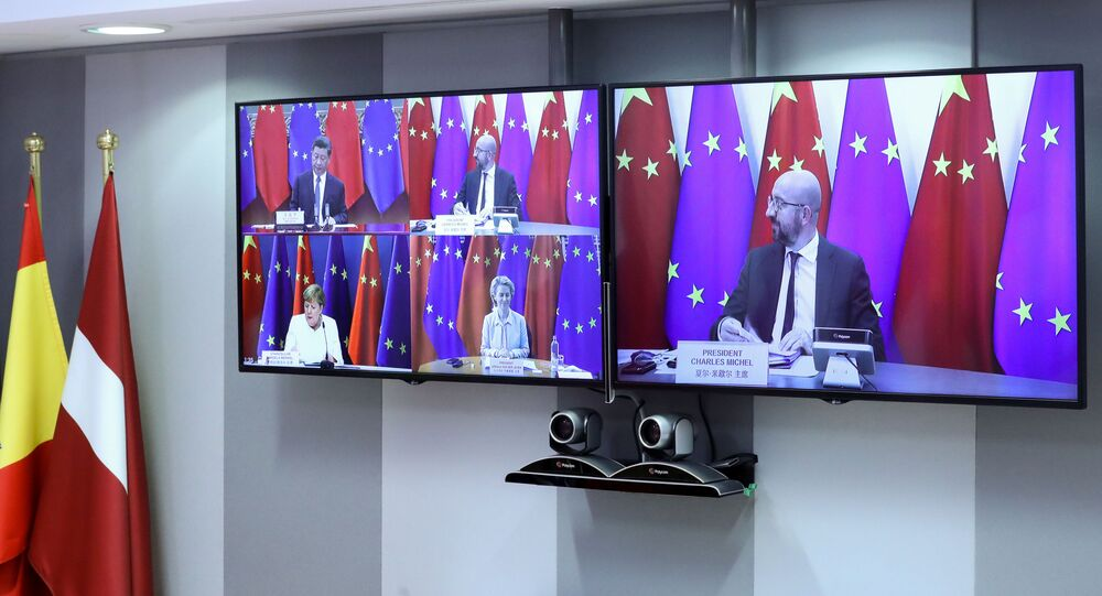 European Council President Charles Michel, High Representative of the European Union for Foreign Affairs and Security Policy Josep Borrell (not pictured) and connected via video European Commission President Ursula von der Leyen and German Chancellor Angela Merkel take part in a virtual summit with China's President Xi Jinping, in Brussels, Belgium September 14, 2020