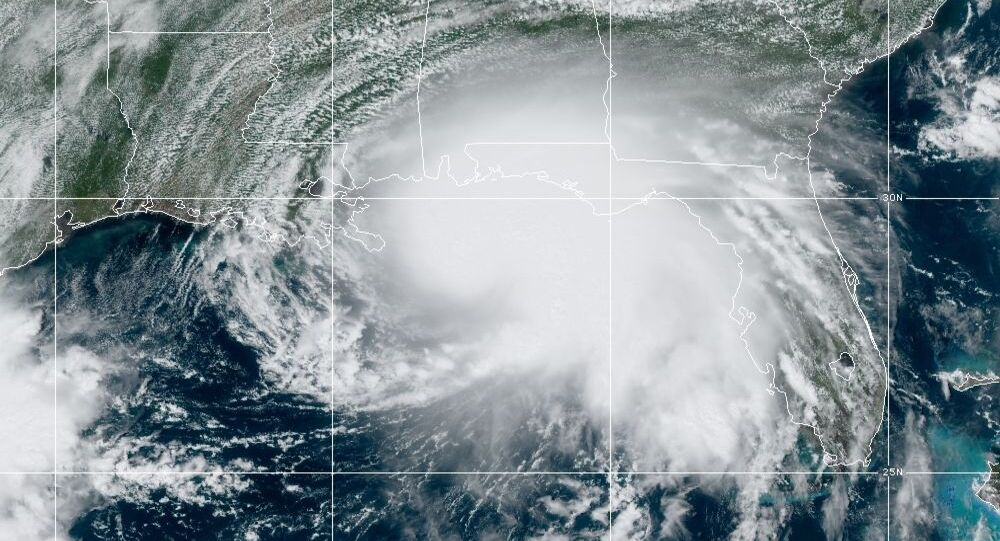 Hurricane Sally churning in the Gulf of Mexico in a satellite image released by the US' National Oceanic and Atmospheric Administration (NOAA) dated September 14, 2020.