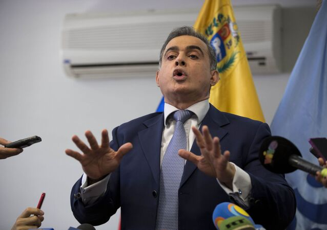 In this April 3, 2017 file photo, Venezuela's Ombudsman Tarek William Saab speaks during a press conference in Caracas, Venezuela.