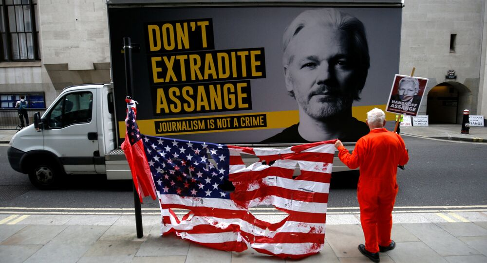 A supporter of WikiLeaks founder Julian Assange protests outside the Old Bailey, the Central Criminal Court, ahead of a hearing to decide whether Assange should be extradited to the United States, in London, Britain, 9 September 2020