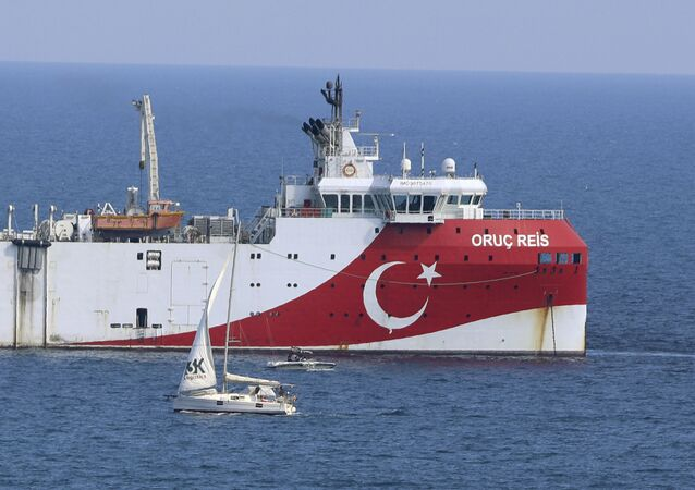 Turkey's research vessel, Oruc Reis anchored off the coast of Antalya on the Mediterranean, Turkey, Sunday, Sept. 13, 2020