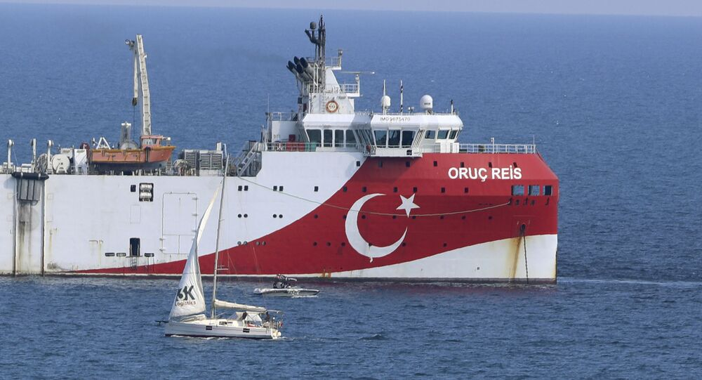 Turkey's research vessel, Oruc Reis anchored off the coast of Antalya on the Mediterranean, Turkey, Sunday, Sept. 13, 2020