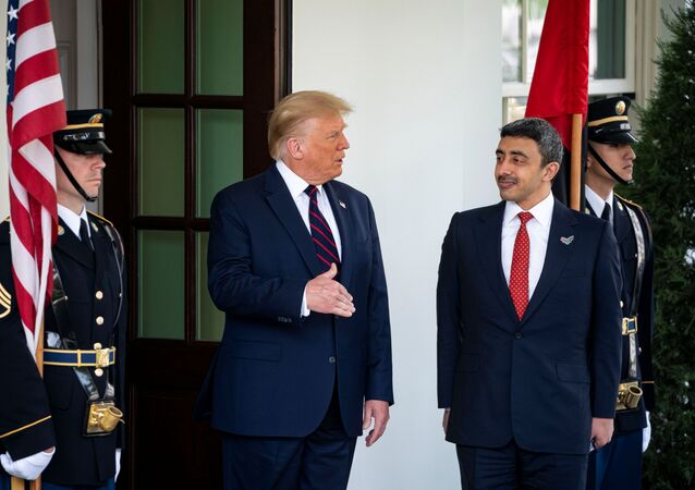 US President Donald Trump welcomes United Arab Emirates' Foreign Minister Sheikh Abdullah bin Zayed Al Nahyan