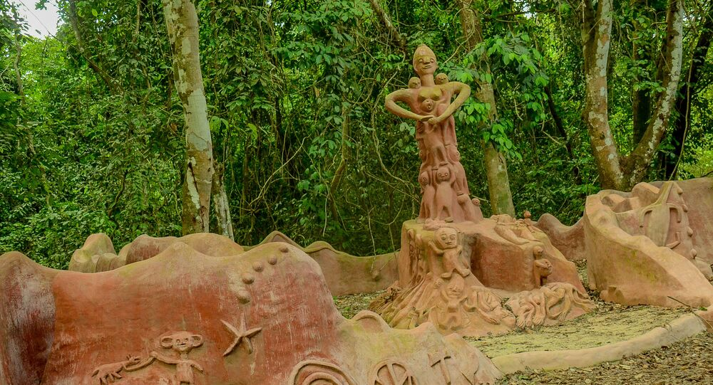 Osun Osogbo sacred groove/forest lies on the outskirts of Osogbo Metropolis, Osun state and spreads across an area of forest with the Osun river.
