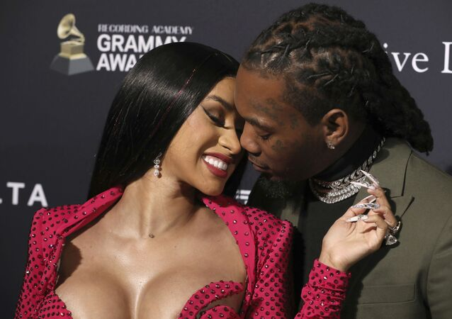 Cardi B, left, and Offset arrive at the Pre-Grammy Gala And Salute To Industry Icons at the Beverly Hilton Hotel on Saturday, Jan. 25, 2020, in Beverly Hills, Calif.