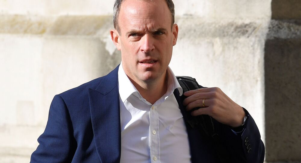Britain's Foreign Secretary Dominic Raab arrives to attend a Cabinet meeting of senior government ministers at the Foreign and Commonwealth Office (FCO) in London, Britain, September 1, 2020.