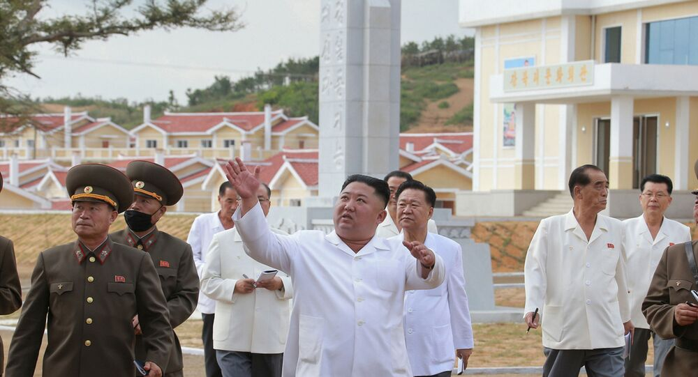 North Korea's leader Kim Jong Un inspects rebuilt Kangbuk-ri, Kumchon County, North Hwanghae Province, North Korea, in this image released September 14, 2020 by North Korea's Korean Central News Agency.