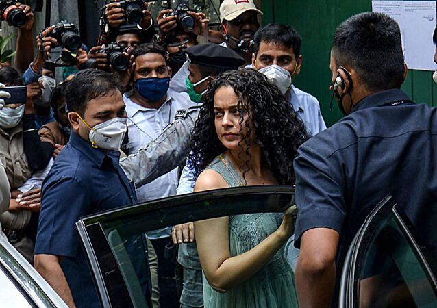 Bollywood actress Kangana Ranaut (C) arrives to visit her office 'Manikarnika Films' a day after structures within those premises were demolished under a decision of Brihanmumbai Municipal Corporation (BMC), in Mumbai on September 10, 2020