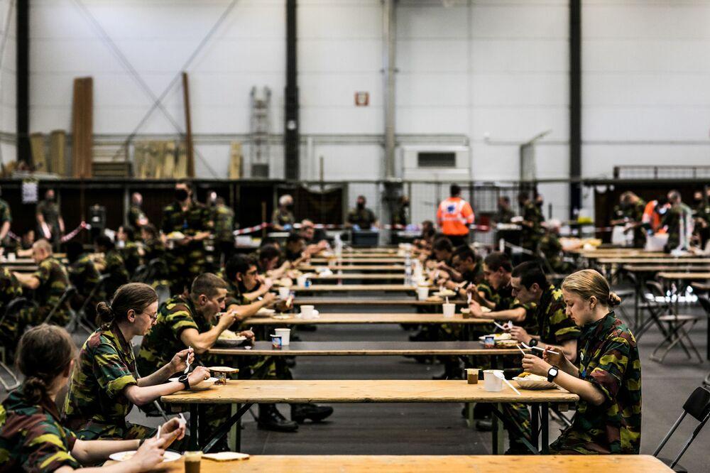 Belgian Crown Princess Elisabeth takes part in a military initiation training at Elsenborn Belgian army camp in Butgenbach, Belgium September 10, 2020.