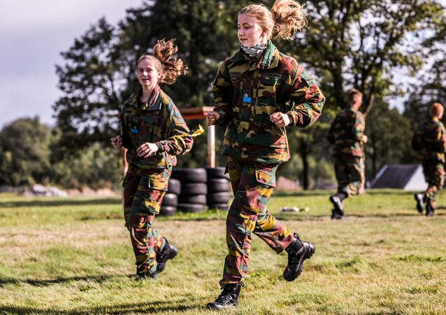 Belgian Crown Princess Elisabeth takes part in a military initiation training at Elsenborn Belgian army camp in Butgenbach, Belgium September 10, 2020.