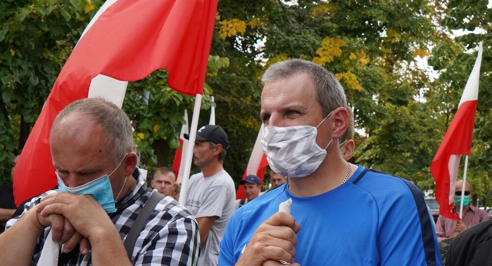 Polish farmers take part in a demonstration against a proposed ban on fur farms and kosher meat exports on  September 16, 2020 in Warsaw.