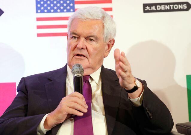 Newt Gingrich speaks about Trump, Trudeau, and Nieto regarding NAFTA Negotiations at Dentons NAFTA 2.0 Summit on October 11, 2017 in Washington, DC.