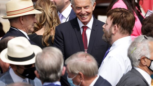 Former British Prime Minister Tony Blair waits for the beginning of the signing ceremony of the Abraham Accords on the South Lawn of the White House on September 15, 2020 in Washington, DC. - Sputnik International