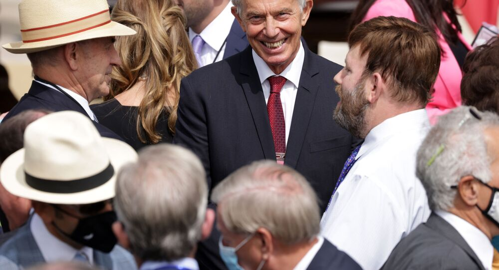Former British Prime Minister Tony Blair waits for the beginning of the signing ceremony of the Abraham Accords on the South Lawn of the White House on September 15, 2020 in Washington, DC.