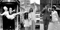Swedish Actress Britt Ekland (L) with husband, British actor Peter Sellers on 19 February 1964; Japanese artist Yoko Ono (C) after her wedding with musician and member of The Beatles, John Lennon, on 20 March 1969; English actress Amanda Barrie (R) with husband, actor Robin Hunter on 19 June 1967