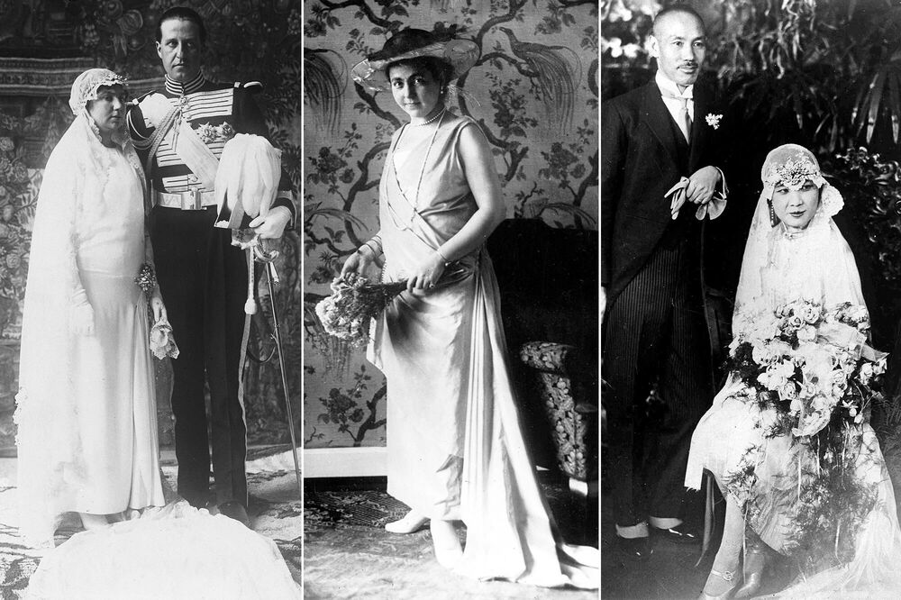 Princess Isabel Alfonsa of Bourbon-Two Sicilies (L) after her wedding with Polish Count Jan Kanty Zamoysk on 9 March 1929; Princess Hermine Reuss of Greiz (C) before her wedding with the last German Emperor and King of Prussia Wilhelm II, on 1 November 1922; political figure Soong Mei-ling (R) with her husband, Generalissimo and President Chiang Kai-shek on 1 December 1927.