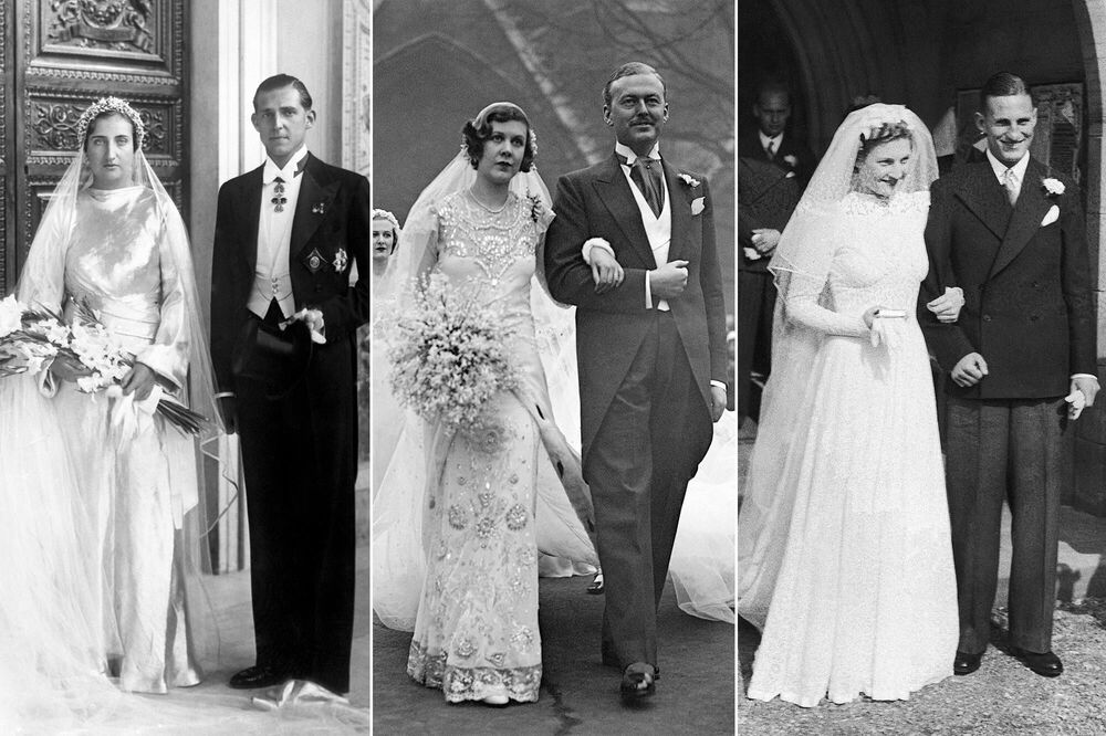 Princess María de las Mercedes of the Two Sicilies (L) with her husband Infante Juan of Spain on 12 October 1935; English socialite Nancy Beaton (C) with husband Sir John Smiley on 18 January 1933; Miss Dorothy Mary Dennis (R) after her wedding with Leonard Hutton, cricketer and captain of the English national team, on 16 September 1939.