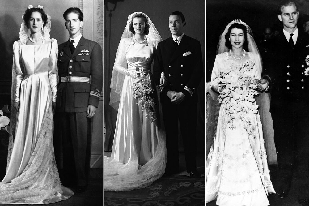 Princess Alexandra of Greece and Denmark (L) after her wedding with King Peter II of Yugoslavia on 20 March 1944; Lady Sarah Consuelo Spencer-Churchill (C) with husband, Lieutenant Edwin Russell on 15 May 1943; the future queen of Great Britain Elizabeth II with her husband Philip, Duke of Edinburgh, on 20 November 1947.