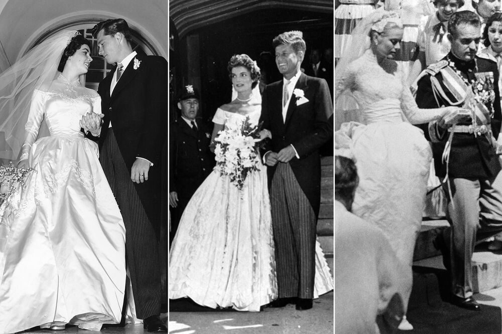 Actress Elizabeth Taylor (L) with Conrad Hilton Jr. on 6 May 1950; Jacqueline Kennedy (nee Bouvier) (C) with the future President of the United States, John Fitzgerald Kennedy on 12 September 1953; Actress Grace Kelly (R) after her wedding with Prince of Monaco Rainier III on 19 April 1956.