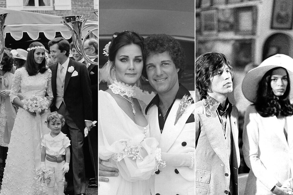 Daughter of Italian aristocrat, Olympia Aldobrandini (L) with her husband (Baron) David de Rothschild at their summer 1974 wedding in Normandy; Actress Lynda Carter (C) with her husband, producer Ron Samuels on 28 May 1977; human rights advocate Blanca Pérez-Mora Macías during her wedding with British rock musician, lead singer of the Rolling Stones, Mick Jagger, on 12 May 1971.