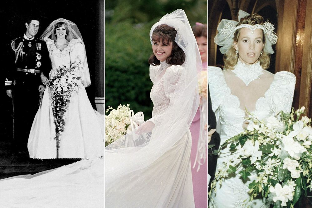 Diana, Princess of Wales (L) after her wedding with Charles, Prince of Wales, eldest son of Queen Elizabeth II, on 29 July 1981; American journalist Maria Shriver (C) before her wedding with actor and future governor of California, Arnold Schwarzenegger, on 26 April 1986; actress Janet Jones Gretzky before her wedding with Canadian hockey player Wayne Gretzky on 16 July 1988.
