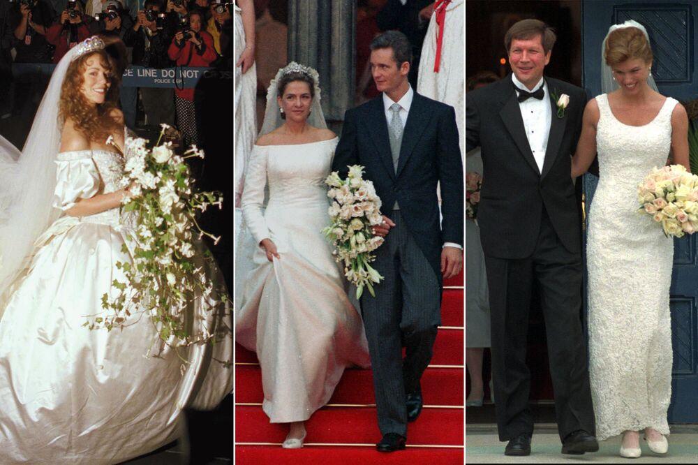 Singer Mariah Carey (L) marries producer Tommy Mottola on 5 June 1993; Infanta Cristina of Spain (c) after wedding with Spanish handball player Iñaki Urdangarin on 4 October 1997; American businesswoman Karen Waldbillig Kasich and American politician John Kasich on 22 March 1997.