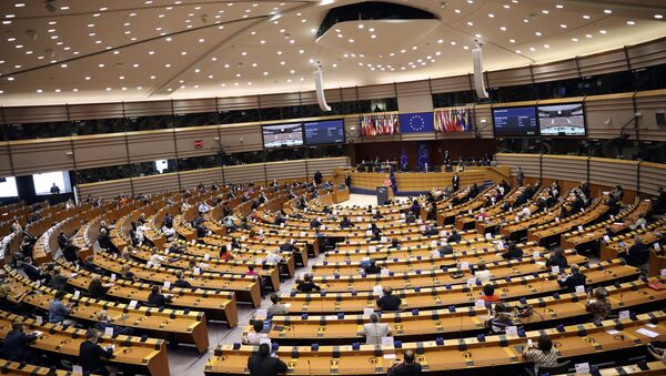 European Commission President Ursula von der Leyen addresses the plenary during her first State of the Union speech at the European Parliament in Brussels, Wednesday, Sept. 16, 2020 - Sputnik International