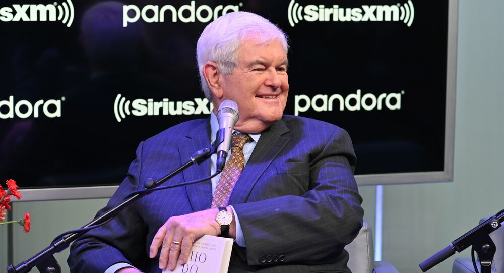 Former Speaker of the United States House of Representatives Newt Gingrich visits SiriusXM's The Catholic Channel at SiriusXM Studios on October 22, 2019 in New York City.