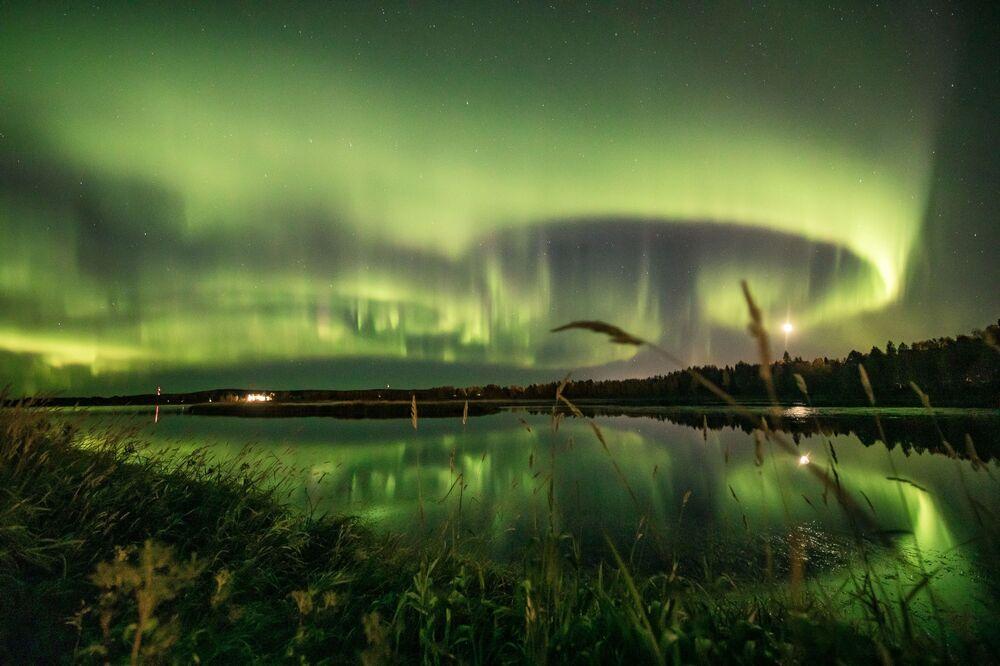 An aurora is seen in the sky in Rovaniemi, Finland 13 September 2020. Picture taken 13 September 2020.
