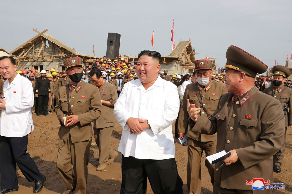 North Korea's leader Kim Jong Un inspects a flood-hit site in Taechong-ri, Unpha County, North Hwanghae Province, North Korea in this image released 11 September 2020 by North Korea's Korean Central News Agency.