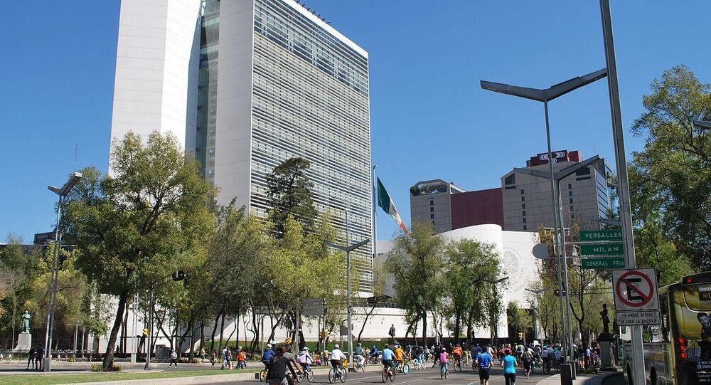 New Senate building on Paseo de la Reforma and Insurgentes in Mexico City