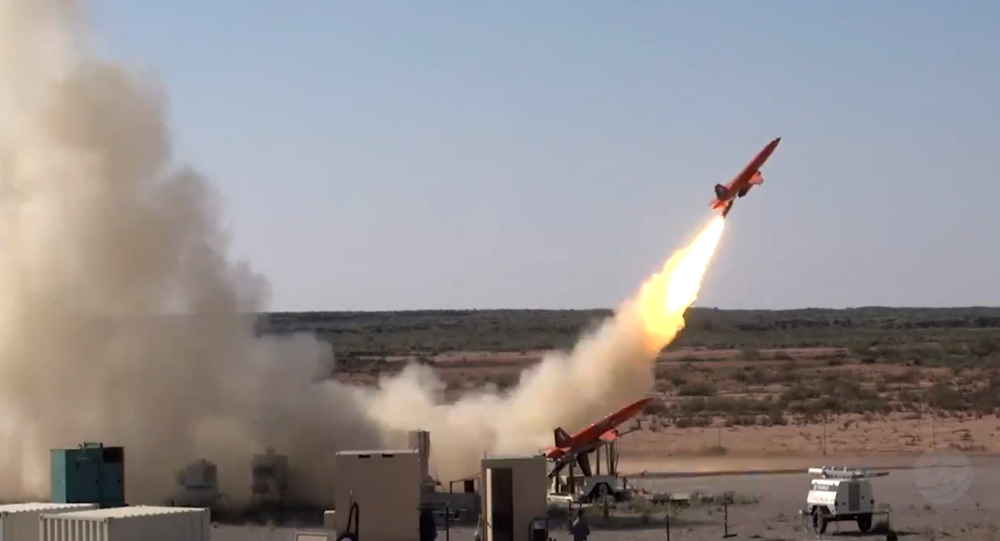 Pentagon testing of new howitzer-launched projectile designed to shoot down enemy missiles. The image shows the launch of  a drone meant to simulate a 'Russian missile'.