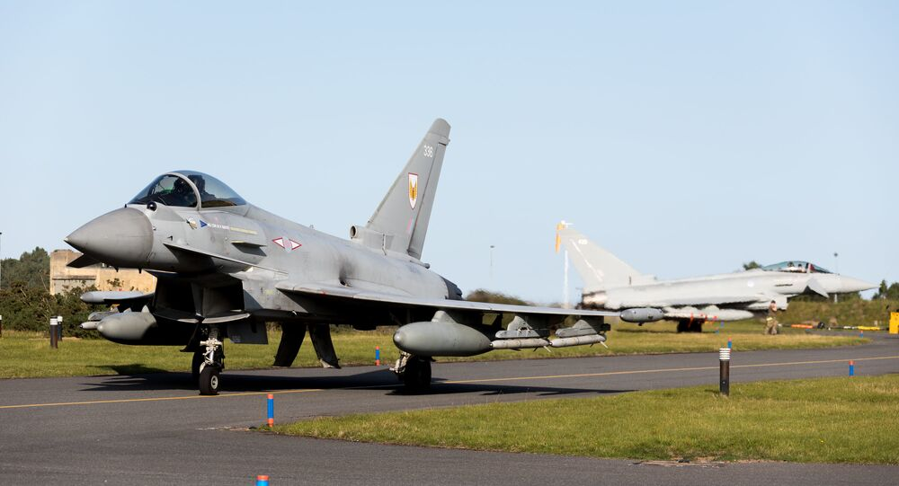 RAF Typhoons scrambled to intercept Russian planes flying over neutral waters in the North Sea.