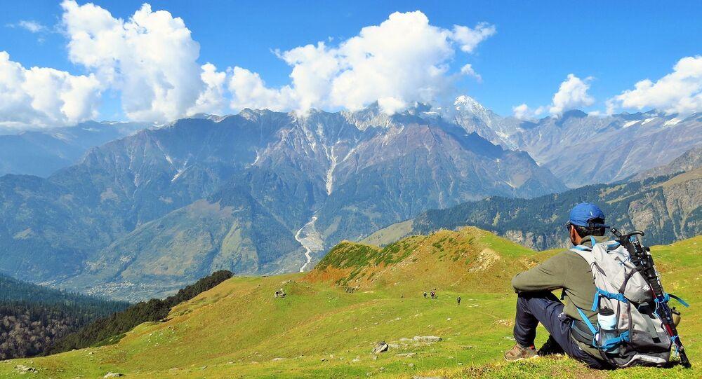 A tourist near Brighu Lake in Himachal Pradesh