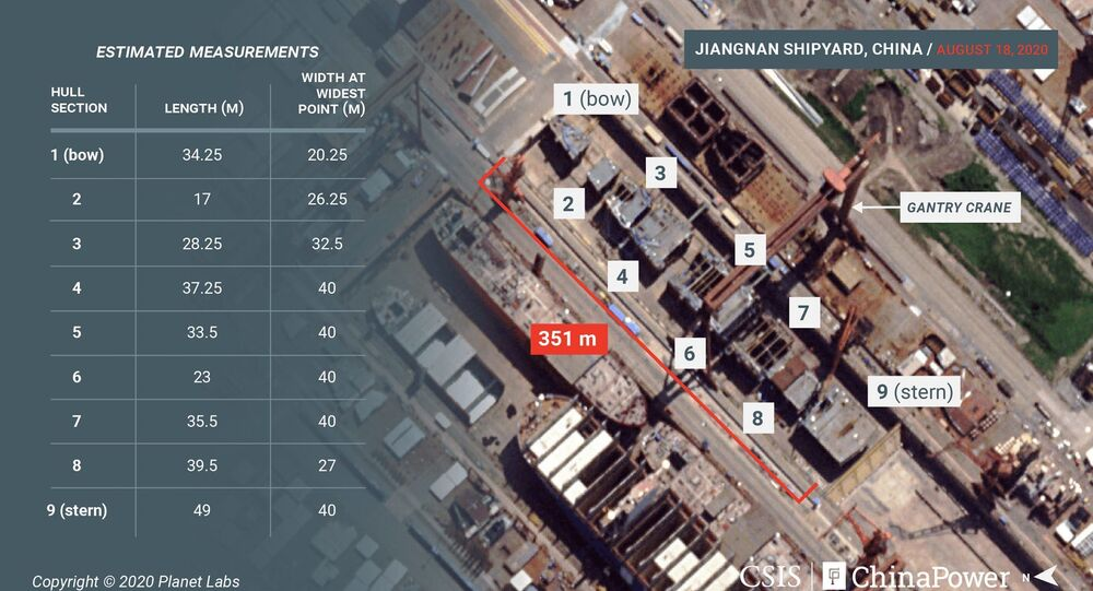 Satellite imagery from August 18 reveals new details of the construction of China's third aircraft carrier. For the first time since construction began, the vessel's hull blocks can be seen uncovered and laid out in order
