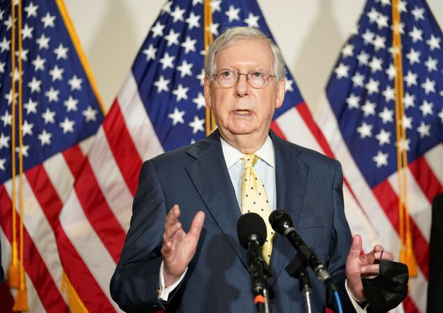 Senate Majority Leader Mitch McConnell speaks to reporters after the Senate Republican luncheon on Capitol Hill in Washington U.S., September 9 2020.