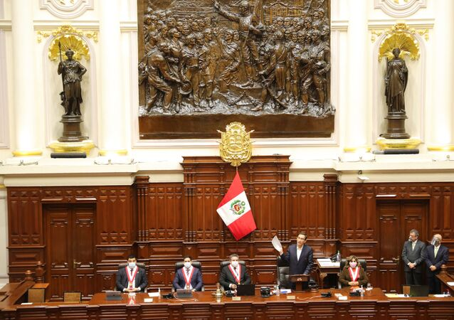 Peru's President Martin Vizcarra addresses Congress as lawmakers were set to vote over whether to oust Vizcarra after impeachment proceedings were launched last week, in Lima, Peru September 18, 2020.