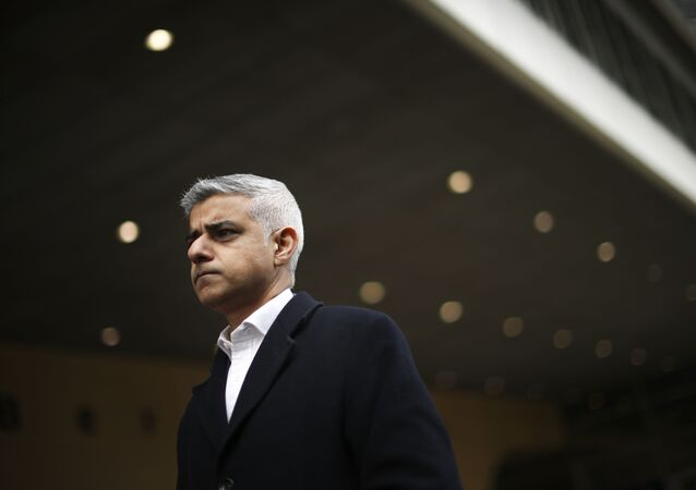 ondon Mayor Sadiq Khan talks to journalists following his meeting with European Commission's Head of Task Force for Relations with the United Kingdom Michel Barnier at the EU headquarters in Brussels, Tuesday, Feb. 18, 2020