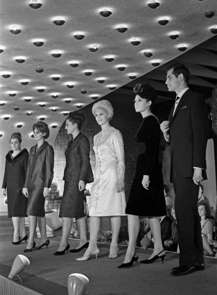 Participants of the International Fashion Congress in Moscow demonstrate autumn outfits from the 1964 collection