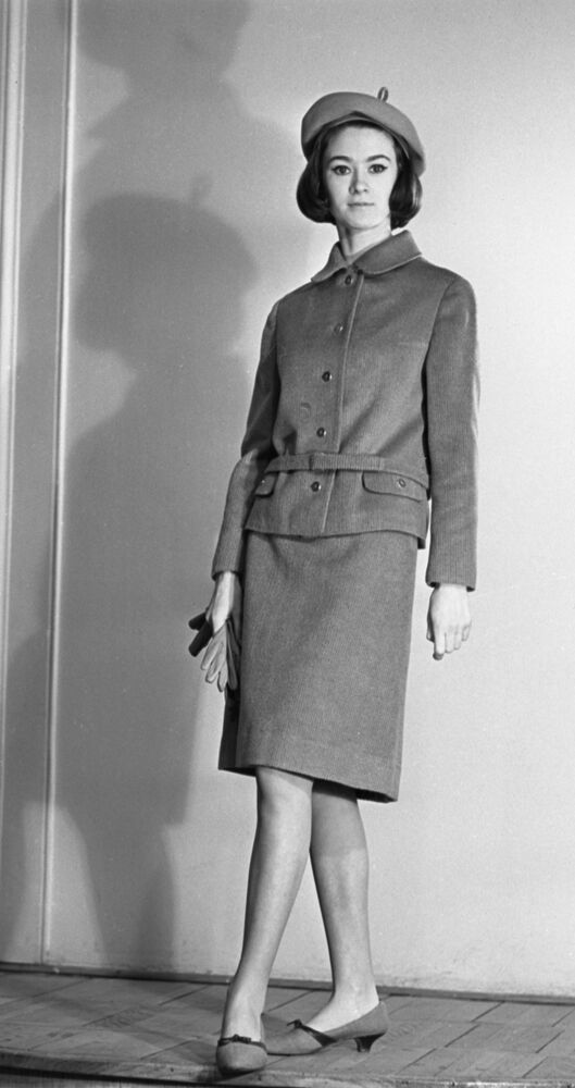 A model wears a costume from the 1965 autumn-winter collection